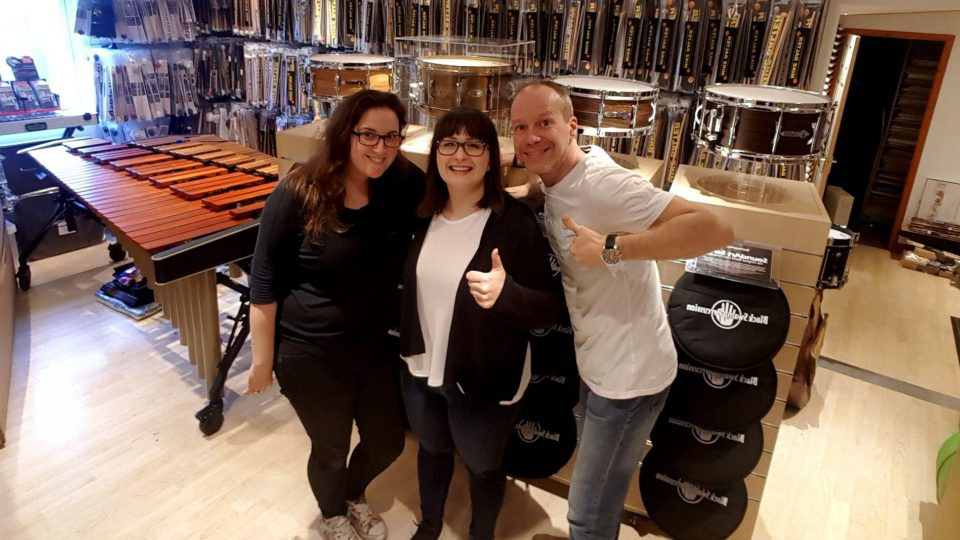 Katy Elman, Gosia Kepa and Maartjn van der Kolk of southern Percussion shop, Rayleigh, Essex